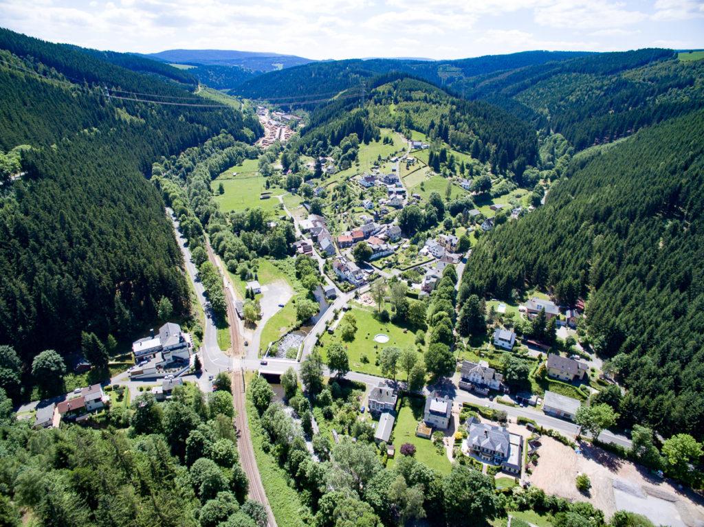 Schwarzmühle Schwarzatal Luftbild