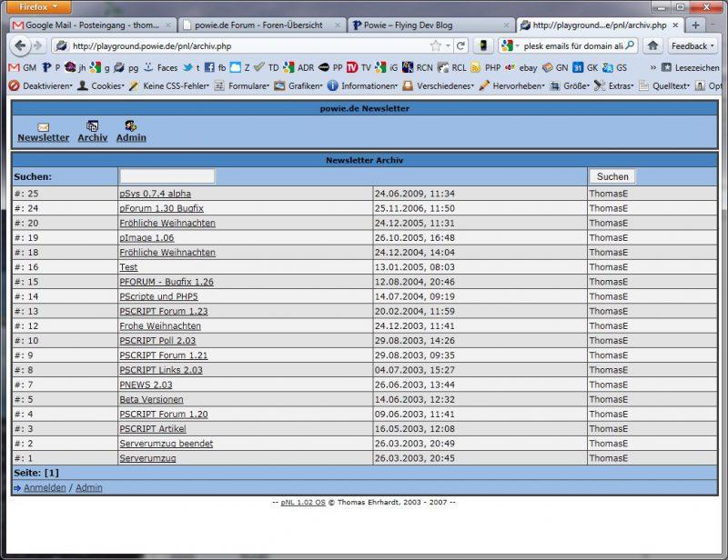 pNewsletter Screenshot